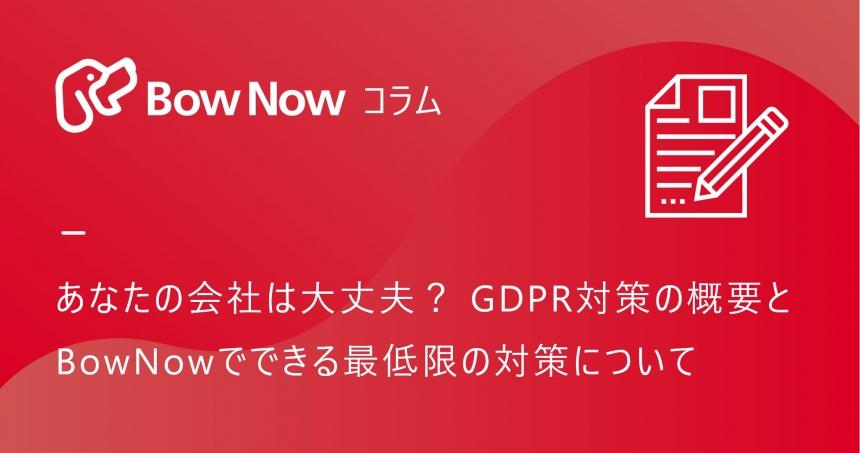 あなたの会社は大丈夫? GDPR対策の概要とBowNowでできる最低限の対策について